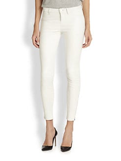 J Brand - Ankle-Zip Leather Skinny Jeans