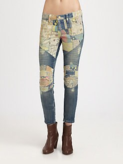 Current/Elliott - The Moto Ankle Patchwork Skinny Jeans