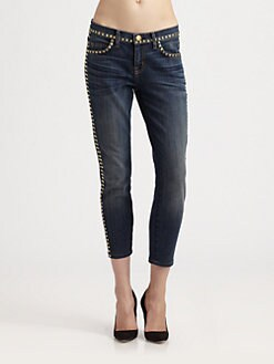 Current/Elliott - The Crop Studded Skinny Jeans