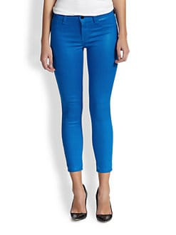 J Brand - 635 Coated Cropped Skinny Jeans