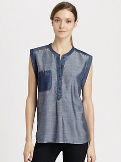 7 For All Mankind - Denim Colorblock Shirt
