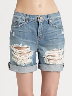 J Brand - Slouchy Distressed Boyfriend Shorts