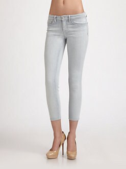 J Brand - Mid-Rise Railroad-Stripe Skinny Jeans