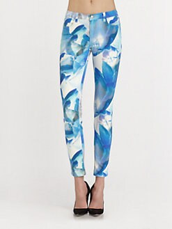 J Brand - Super Skinny Orchid-Print Jeans