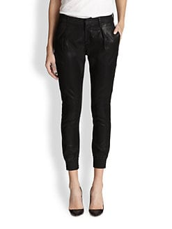 7 For All Mankind - Pleated-Front Coated Cropped Pants