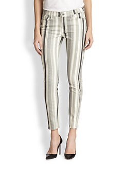 7 For All Mankind - The Ankle Skinny Striped Jeans