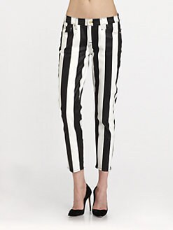 7 For All Mankind - Crop Slim Striped Cigarette Jeans