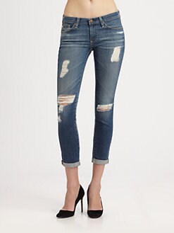 AG Adriano Goldschmied - The Stilt Distressed Roll-Up Jeans