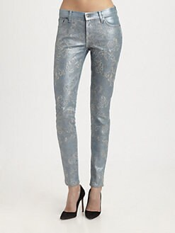 7 For All Mankind - The Skinny Metallic Embroidery-Print Jeans