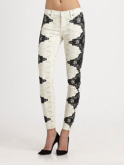 7 For All Mankind - The Skinny Lace-Print Jeans