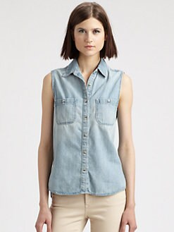 AG Adriano Goldschmied - The Faye Sleeveless Chambray Shirt