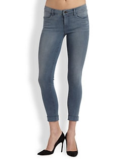 J Brand - Anja Cuffed Low-Rise Cropped Skinny Jeans