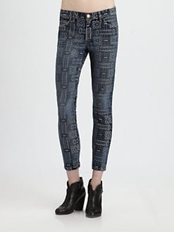 Current/Elliott - The Stiletto Printed Skinny Jeans