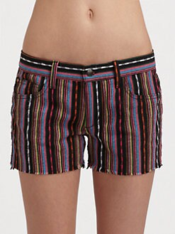 Joe's - Striped Mid-Rise Denim Shorts