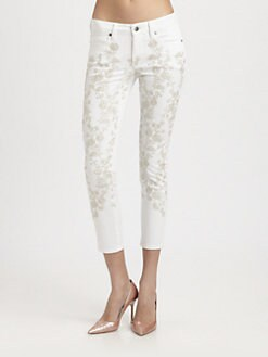 Genetic Denim - Brooke Floral Embroidered Cropped Mid-Rise Skinny Jeans