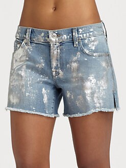 7 For All Mankind - Carlie Silver Foil Cut-Off Shorts