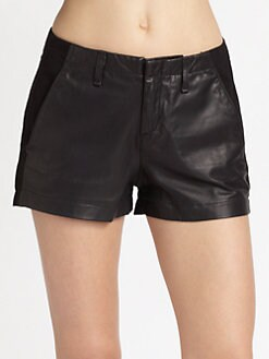 rag & bone/JEAN - Hyde Portobello Stretch-Leather Shorts