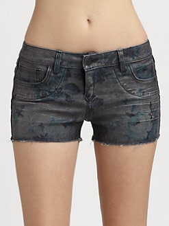 Bleulab - Curve Reversible Floral-Print Cut Off Denim Shorts