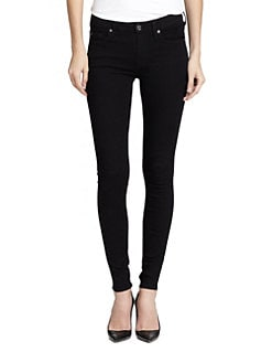 7 For All Mankind - 2nd Skin Slim Illusion Skinny Jeans/Elasticity Black