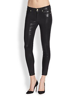 7 For All Mankind - The Cropped Skinny Jeans/High Gloss Black
