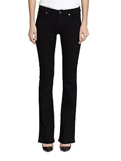 7 For All Mankind - 2nd Skin Slim Illusion Bootcut Jeans/Elasticity Black