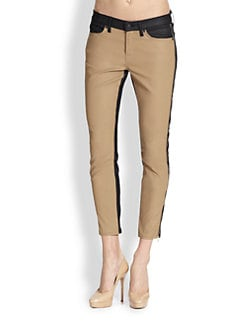 7 For All Mankind - Pieced Cropped Skinny Jeans
