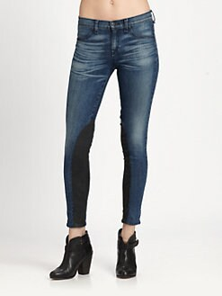 rag & bone/JEAN - Jodhpur Lambskin Accented Skinny Jeans