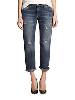 Current/Elliott - Cropped Boyfriend Jeans