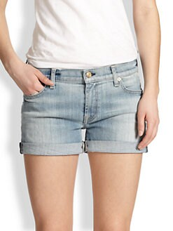 7 For All Mankind - Rolled-Cuff Denim Shorts