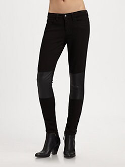 Joe's - Leather-Trim Skinny Jeans