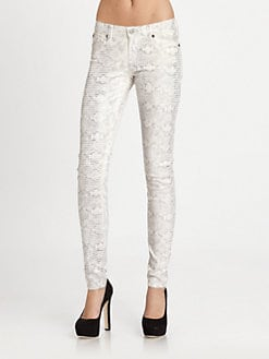 7 For All Mankind - The Skinny Reptile-Print Jeans