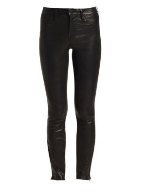 Mid-Rise Leather Skinny Jeans