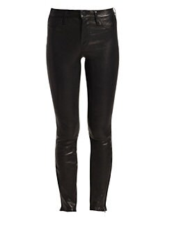 J Brand - Mid-Rise Leather Skinny Pants
