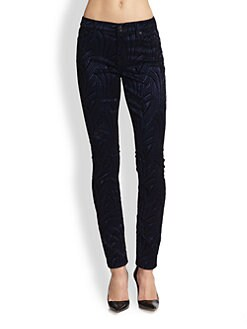 7 For All Mankind - The Skinny Flocked Satin Jeans