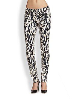 7 For All Mankind - Animal-Print Skinny Jeans