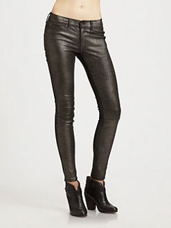 rag & bone/JEAN - Skinny Leather Jeans/Anthracite
