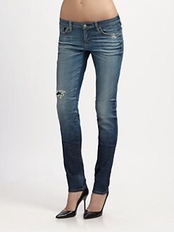 AG Adriano Goldschmied - Distressed Super Skinny Jeans