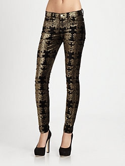 7 For All Mankind - The Skinny Velvet Brocade Pants