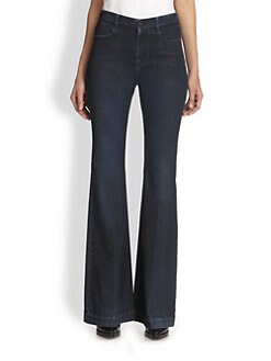 Stella McCartney - The '70s Coated High-Rise Flared Jeans