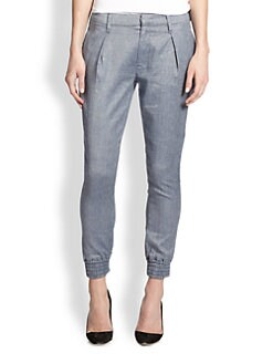 7 For All Mankind - Chambray Cropped Tapered-Leg Pants