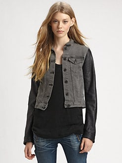 rag & bone/JEAN - Leather-Sleeve Jean Jacket