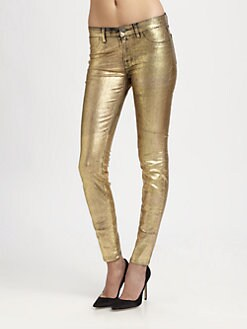 J Brand - Coated Metallic Mid-Rise Leggings