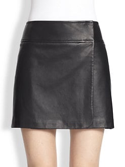 Theory - Katen Prudential Leather Mini Skirt