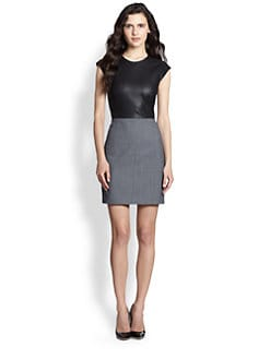 Theory - Orinthia C. Wallner Leather & Cloth Dress