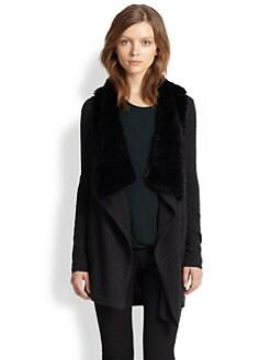 Theory - Martiza Rabbit Fur-Trimmed Draped Wool Cardigan