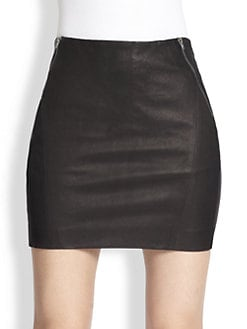 Theory - Keila Danish Leather Mini Skirt
