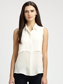 Theory - Rosae Double-Panel Silk Top