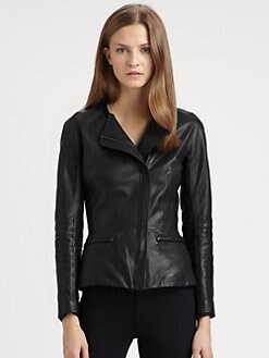 Theory - Enora Ford Leather Peplum Jacket