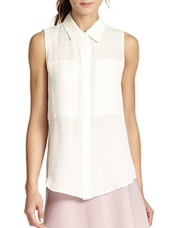 Theory - Duria Silk Sleeveless Blouse