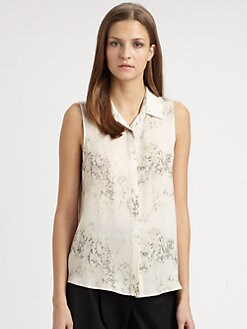 Theory - Earhart Sleeveless Cherry Blossom Blouse